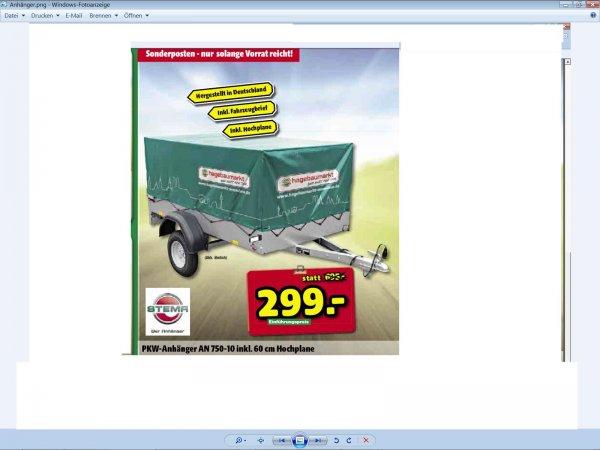 (LOKAL MUC und Umgebung) Stema PKW-Anhänger AN 750-10 inkl. 60cm Hochplane bei Hagebaumarkt für 299  €