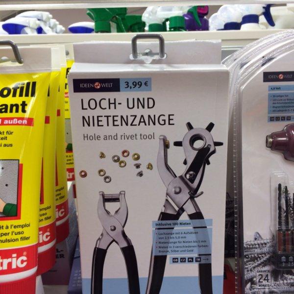 0,50 € !!!Loch und Nietenzange bei Rossmann [lokal?] in Tönisvorst eventuell bundesweit!