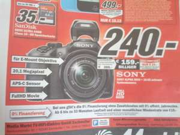 [Lokal Eschweiler] Sony Alpha 3000 + 18.55 schwarz Systemkamera