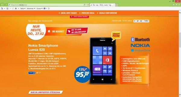 Online/Offline Real] Nokia Smartphone Lumia 520 Deal des Tages am Donnerstag, den 27. Februar 2014 ---- kein Sim-Lock