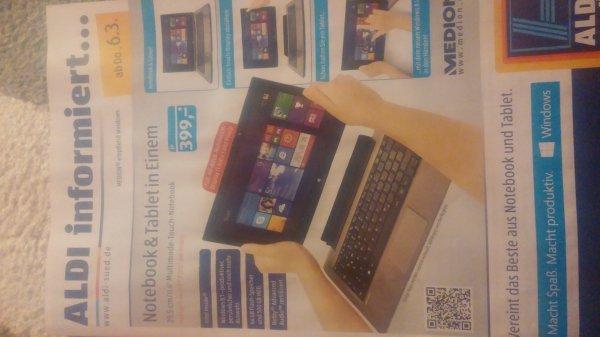 Notebook & Tablet in Einem.  Medion Aldi Süd 399 Euro Full HD