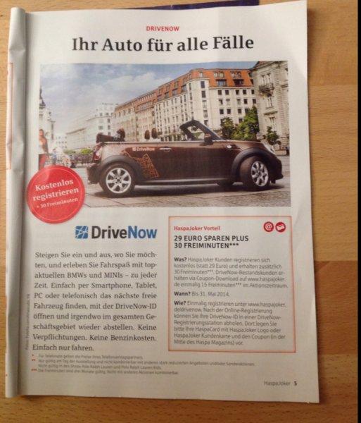 [Hamburg] DriveNow - Anmeldung frei + 30 Min frei für HaspaJoker Kunden