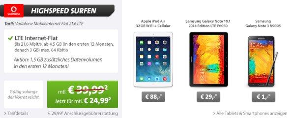 Apple iPad Air 32GB WiFi + Cellular sehr günstig/kostenlos in Verbindung mit Vodafone LTE Vertrag