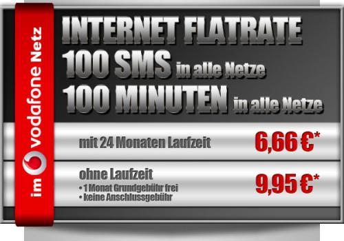 Vodafone Vertrag (Telco) mit Internet-Flatrate, 100 Minuten und 100 SMS für 6,66€ + 25€ Anschlusspreis