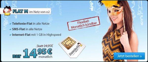 DeutschlandSIM Telefonflat, SMS-Flat, 1GB Internet, 14,95€ , monatlich kündbar