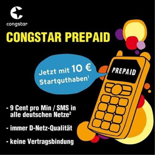 Congstar Prepaid Karten mit 10 Euro Startguthaben für 2 Euro