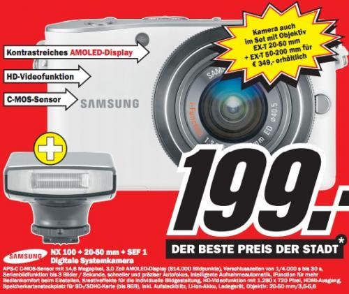 Media Markt Chemnitz: Samsung NX100 Systemkamera, Kit mit 20-50mm Objektiv und SEF-15A Blitz für 199€!