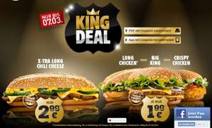 [Burger King] King Deal - X-tra Long Chili Cheese für 2,99€ und Big King/Crispy Chicken/Long Chicken für jeweils 1,99€