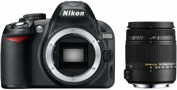 Nikon D3100 SLR-Digitalkamera (14 Megapixel, Live View, Full-HD-Videofunktion) Kit inkl. Sigma 18-250mm F3,5-6,3 DC Macro OS HSM Objektiv