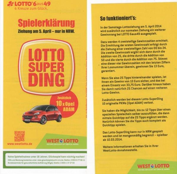 (NRW) Lotto-Superding am 5.April 25 Tippreihen für 20,75€