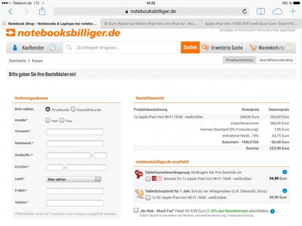 iPad Mini 16GB für 223,99 Euro bei Notebooksbilliger.de dank 50 Euro Gutschein