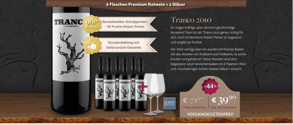 [Vicampo] Direkt Winzerweine 6 Fl Premium Rotwein + 2 Gläser Tranco 2010 --- 90 Parker Punkte