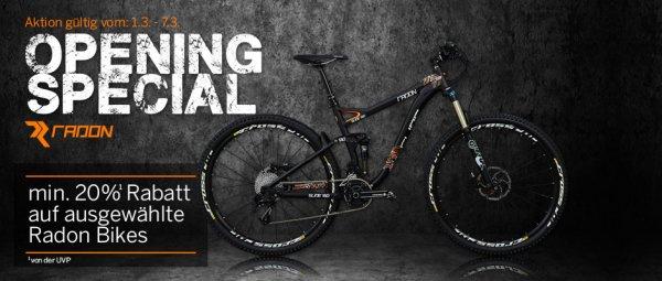 Relaunch Special - bike-discount.de - 20% und mehr auf einige Radon Bikes, auch 2014er