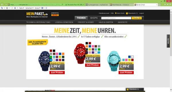 [MeinPaket] CM3 Silikon Frauen, Herren, Kinder Armbanduhr in 17 Farben , inkl. 2ter Ersatzbatterie