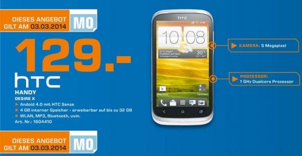 HTC Desire X für 129€ Tagesangebot 03.03 Lokal [Saturn Essen,Mülheim&Oberhausen]