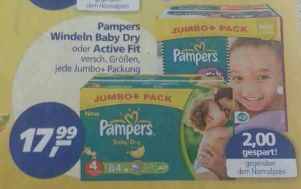 Pampers Windeln Baby Dry oder Active Fit für 13,99 mit 4€ Gutschein