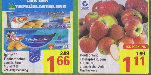 Kapt´n Iglo Lachs- oder Fischstäbchen 15 Stück 224 – 450 g tiefgefroren 1,66€  1KG Tafeläpfel Rubens  für 1,11€  @Marktkauf