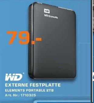 [Lokal] WESTERN-DIGITAL Elements 2TB, tragbare Festplatte, schwarz, 2,5 Zoll, USB 3.0