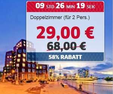 HRS 4-Sterne Park Inn by Radisson Hotel ----DÜSSELDORF  -----  2 Personen 29,00 €
