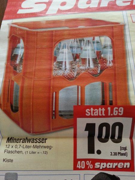 [EDEKA Hessenring] Mineralwasser 12 x 0.7 l Kiste für 1€