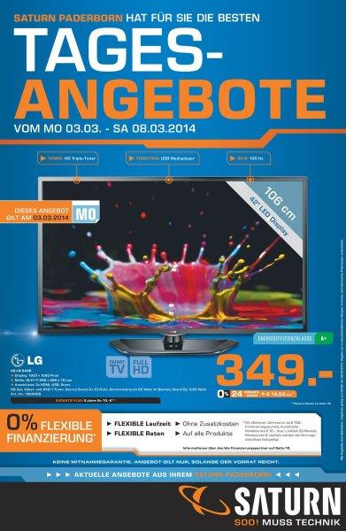 (Lokal - PB) Saturn Tagesangebot 3.3.: LG 42 LN 5406 Smart TV 349.-