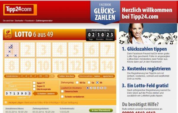 Tipp24! 2 Kostenlose Lottofelder!