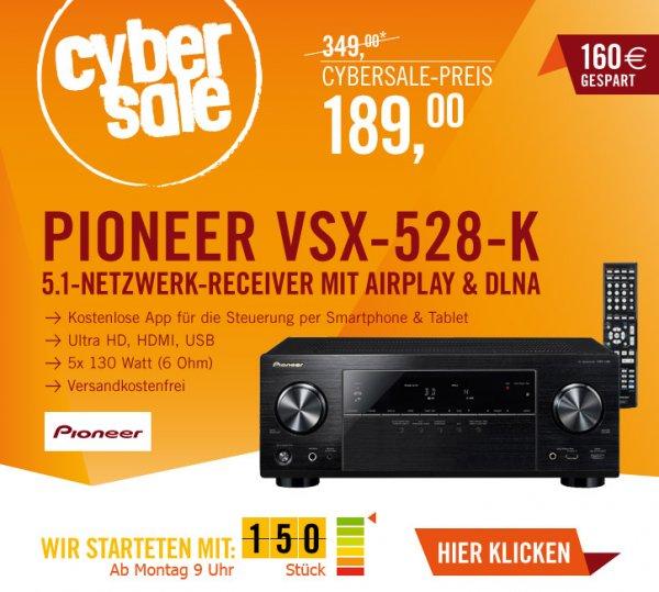 Pioneer VSX-528-K 5.1 für 189€ - AV-Reciever (3D, 4-K Pass-Through, Airplay) @ Cyberport Cybersale ab 09.00 Uhr