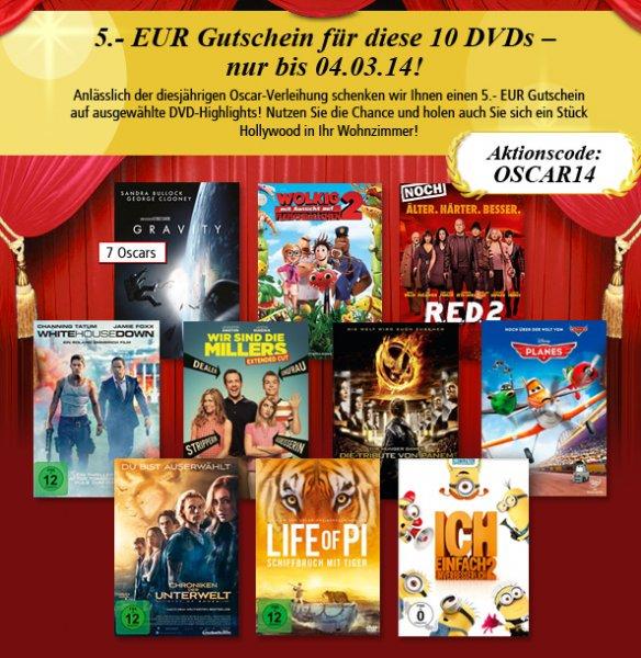 Weltbild DVDs zum Oscar-Preis - (z.B. Life of Pi 2,99 / Tribute von Panem 3,99 €)