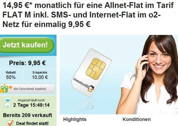 [GROUPON] DeutschlandSIM ALLNET-FLAT, SMS-Flat, 1GB Internet, 14,95€ , O² - monatlich kündbar