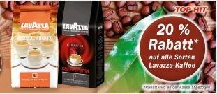 [HIT Supermarkt / lokal] Lavazza-Kaffee  20 % Rabatt auf alle Sorten