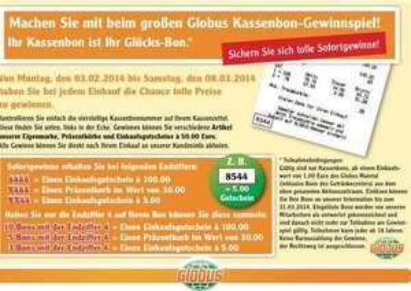 [LOKAL MAINTAL] Mit etwas Aufwand 105 € Globus Gutschein gratis durch Kasselzettel