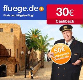 30€ cashback auf Flugbuchungen bei Fluege.de (qipu)