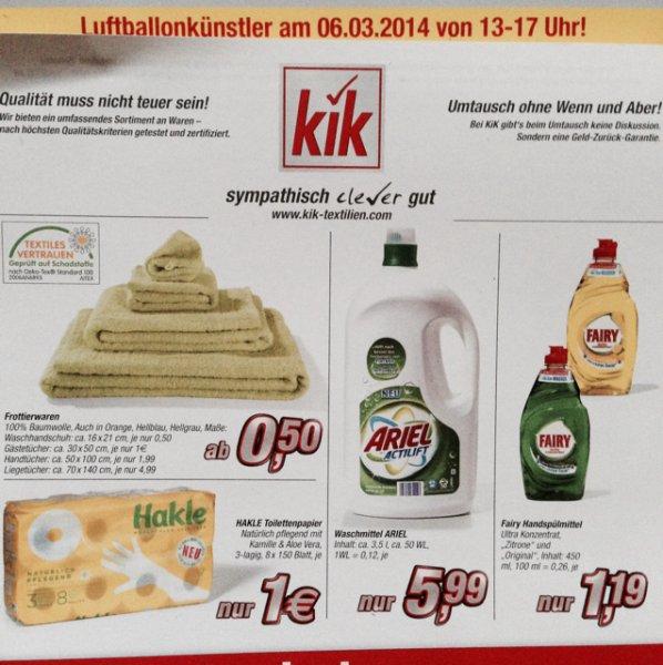 Lokal Markt Schwaben bei München: Hakle Toilettenpapier 1€ Ariel Actilift 3,5 Liter 5,99