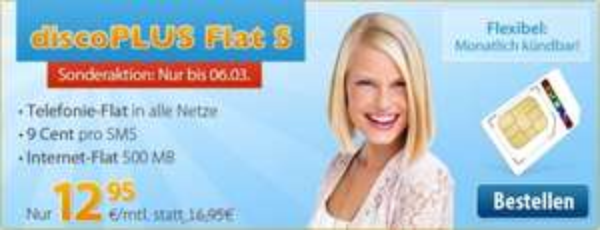 discoPLUS – Allnet-Flat, 500MB Daten für 12,95€ (monatlich kündbar) Nur noch bis Morgen