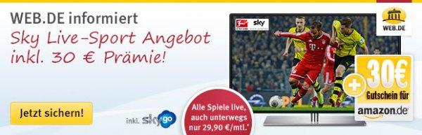 Sky: 30 € Amazon Prämie + Sky Go + HD-Sender 1 Jahr gratis! 29,90 mtl. bei 2 Paketen