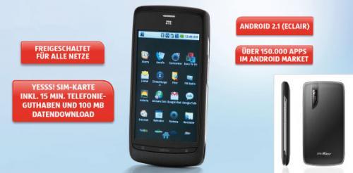 ZTE Blade (Android Smartphone) wieder bei Hofer für 139 Euro (offen für alle Netze, inkl. Wertkarte) am 7.7.2011