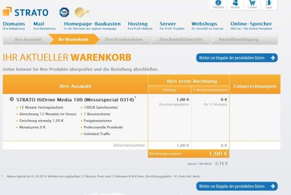 100 GB Strato Online Speicher ein Jahr für 1€