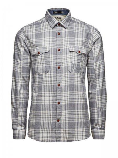 Jack & Jones Herren Hemd Task LS Tight Fit Shirt Hellgrau