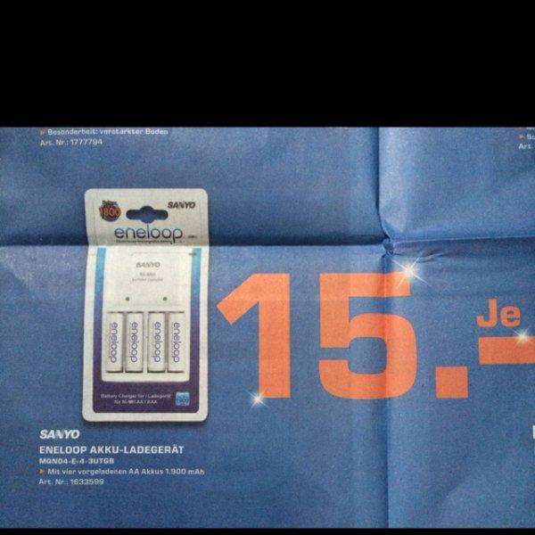 Lokal Saturn Reutlingen Sanyo Eneloop Ladegerät + 4x AA Eneloops 1900MAh 15,00€