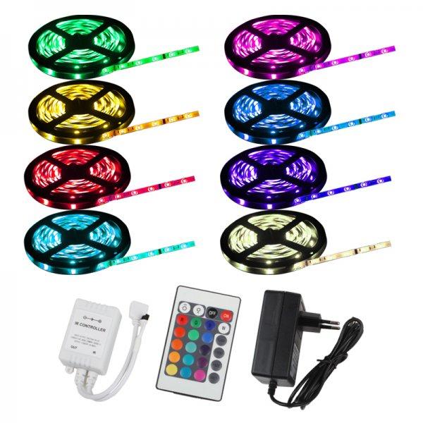 5m LED SMD LICHT STRIP KETTE LEISTE RGB 5050 + FERNBEDIENUNG + NETZTEIL @ebay