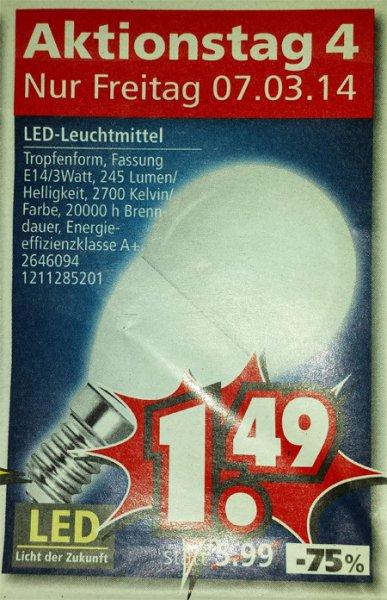 Nur heute: LED-Lampe Tropfenform E14 / 3W offline @ Segmüller für 1,49 €