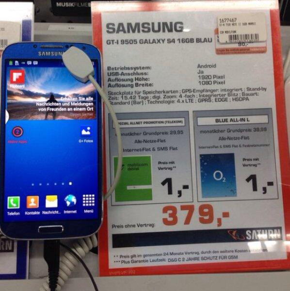 [Lokal] Samsung Galaxy S4 für 379€, Saturn Köln Maybachstrasse