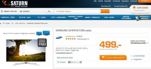 Samsung UE40F6510 für 499,- - Vergleichspreis 539,- redcoon