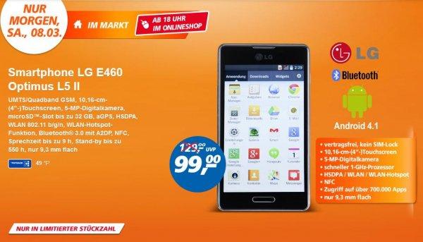 [real] Smartphone LG E460 Optimus L5 II am 08.03. (ab 18Uhr auch online) für 99,-€