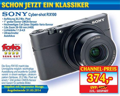 Sony RX100 für 374,- € + 4,90 € Versand. Abholung Vorort kostenlos.