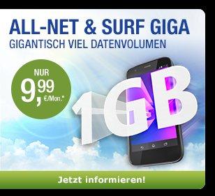 1 GB mit ALL-NET & SURF GIGA für 9,99 €/Monat