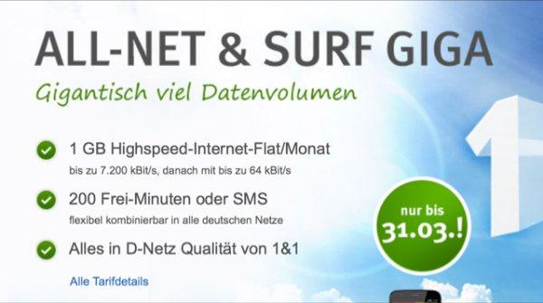 D-Netz - Internet 1.000 MB/Monat, 200 Frei-Minuten/SMS (kombinierbar) für 9.99€