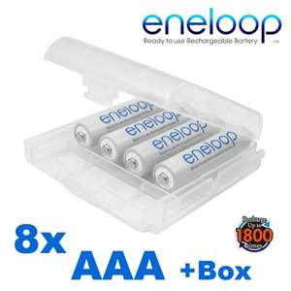 8 x Sanyo Eneloop Akku AAA 800mAh HR4-UTGB (neuste Version) inkl. Akkubox für 10,89 Euro @ Akkudo