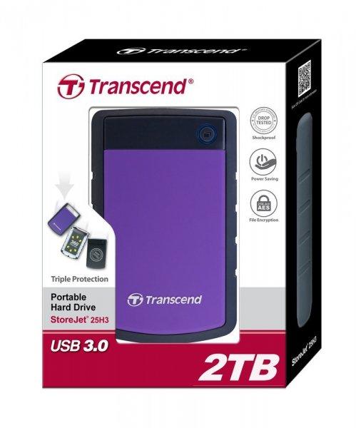 Transcend TS2TSJ25H3P StoreJet H3P externe Festplatte 2TB, 2,5 Zoll, USB 3.0, grau/violett - 99,90€