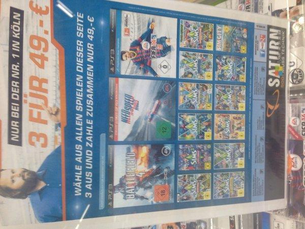 (Saturn Köln) 3 für 49€ - Battlefield 4, Fifa -4, NFS Rivals & Sims